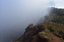 O chvíľku nás už ale chytila hustá hmla, akurát keď sme sa blížili ku koncu trasy, ktorá je rovno nad útesmi a je celkom úzka.
